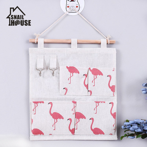 4 Pockets Cotton Linen Wall Hanging Storage Bags Door Pouch Bedroom Wall Hanging Home Office Organizer with storage bag