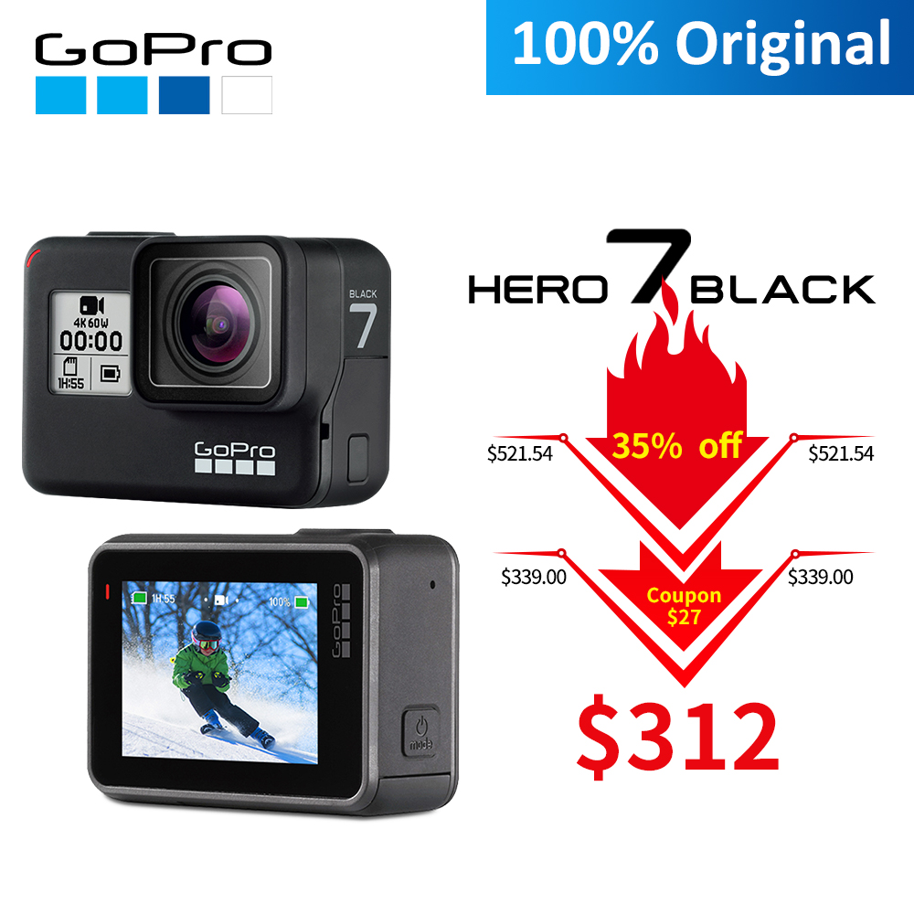 Caméra d'action d'origine GoPro HERO 7 noir 4K 60fps 1080P 240fps vidéo Go Pro Sport cam 12MP Photo wifi en direct Streaming Hero7
