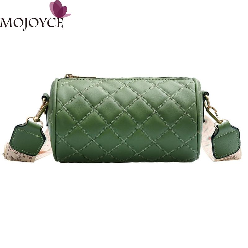 Solid Color Women PU Leather Messenger Bag Female Cylinder Retro Wide Shoulder Crossbody Bags Casual Purse