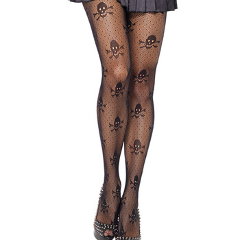 Sexy Halloween Skulls Printed Ultra Sheer Open Net​ Pantyhose