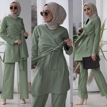 Eid Two Piece Muslim Sets Women Abaya Turkey Hijab Dress Caftan Moroccan Kaftan Islam Clothing
