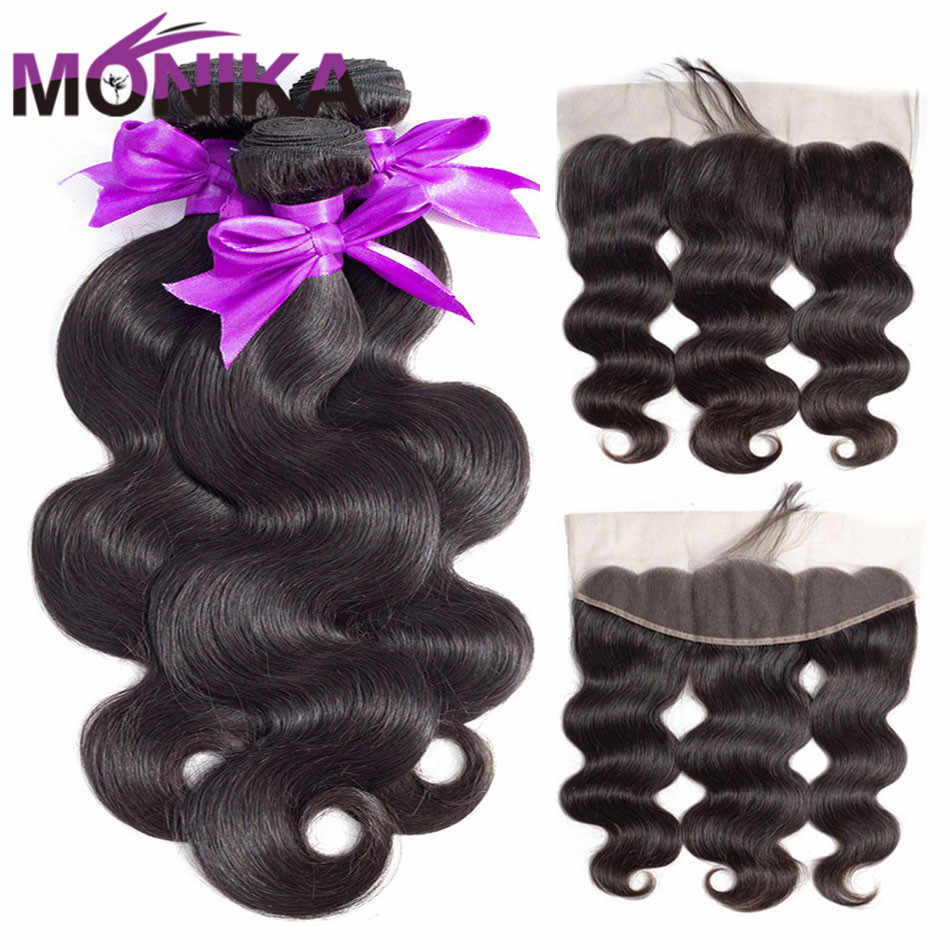 Monika 30 inch Bodywave Bundles with Frontal Malaysian Hair Frontal with Bundles Non Remy Human Hair Lace Frontal and Bundles