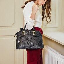 حقائب يد صغيرة للنساء من جلد التمساح موديل 2019 حقيبة يد فاخرة للسيدات من Qiwang 100% حقائب كتف للنساء من الجلد الأصلي