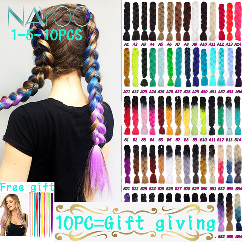Nayoo 24inch 5-10 Pieces/lot Synthetic Hair Pink Purple Blue Blonde Color Synthetic Jumbo Braids Ombre Braiding Hair Extension