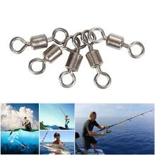 50pcs Fishing Hooks Tackle Ball Bearing Swivel Crane Duo Lock Snap Fishing Hooks Trolling Rigging Sliver Fishing Hook Tool(China)