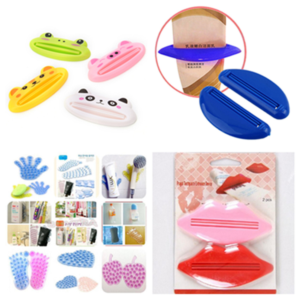 Bathing Cap Tube Squeezer Bathroom Toothpaste Bathroom Suction Cup Reversible Anti-slip Soap Sucker For Mat Holder Mount