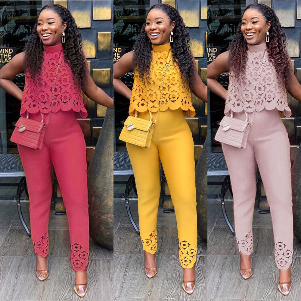 Summer Autumn Womens Two Piece Sets 2019 Lace Hollow Out Crop Top & Pants Set Elegant Suit Lady Office Work Party Outfits