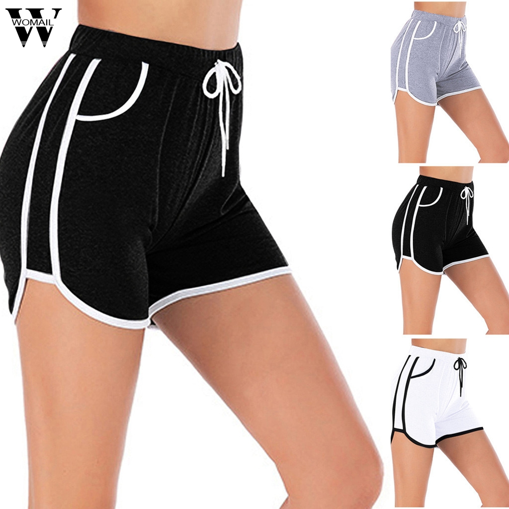 Womail Womens Short Elastic Waist Short Loose Shorts Women Casual Drawstring Run Gym Sports Summer Shorts Women Short Feminino