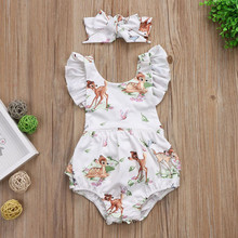 Baby Clothing Newborn Toddler Infant Baby Girls Ruffles Deer Romper Back Cross Jumpsuit Clothes Sunsuit Headband Outfits cute floral baby romper newborn infant baby girls summer v neck ruffles jumpsuit toddler kids outfits princess sunsuit