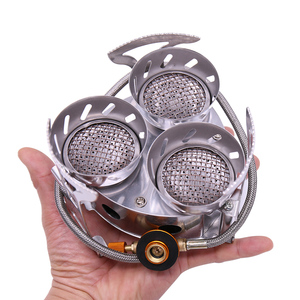 Outdoor Stove Gas Burner High Power Camping Stove Windproof Three Core Head Gas Stove Camping Oven Outdoor Cookware Cooking