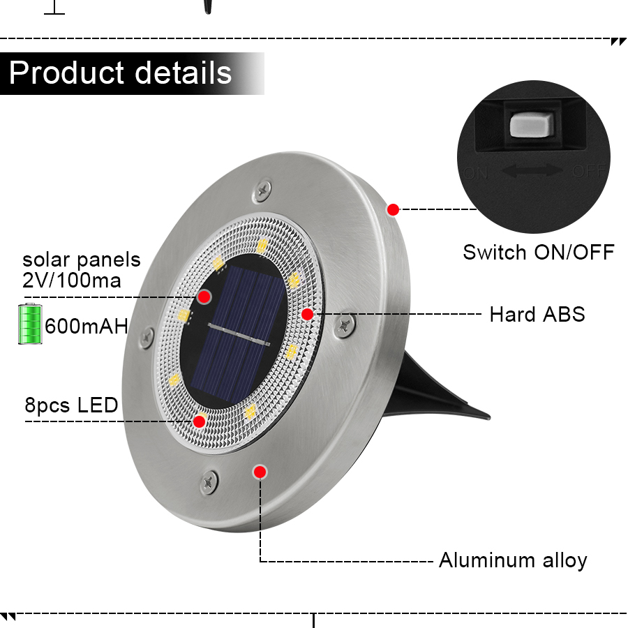 Round Shaped In Ground Solar Outdoor light with 8 LED and Infrared Light Sensor for Garden Pathway 10