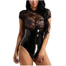Sexy lingerie de couro erótico lingerie feminina splice rendas perspectiva lingerie babydolls sexo trajes porno mais tamanho S-3XL quente