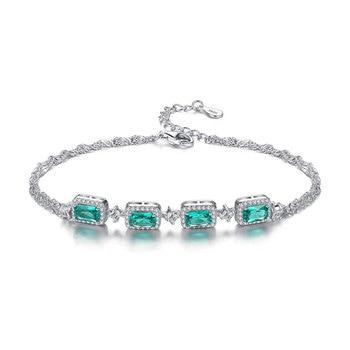 S925 sterling silver malachite green zircon bracelet wild small female bracelet jewelry works to send girlfriend Christmas gift