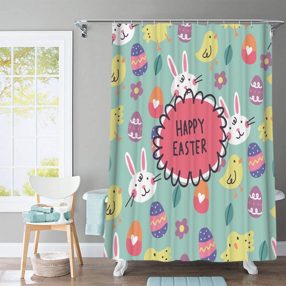 Cute Hare Rabbit Door Bath Mat Toilet Cover Rugs Shower Curtain Bathroom Decor