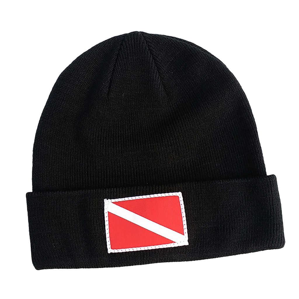 Menyelam Bendera/Penyelam Bawah Scuba Menyelam Surf Kayak Olahraga Knit Beanie dengan Menyelam Bendera/Penyelam Bawah Desain Topi cap