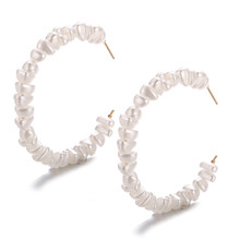 Fashion Imitation Pearl Earrings For Women Girls Big Circle Hoop Earring Brinco Statement Wedding Jewelry