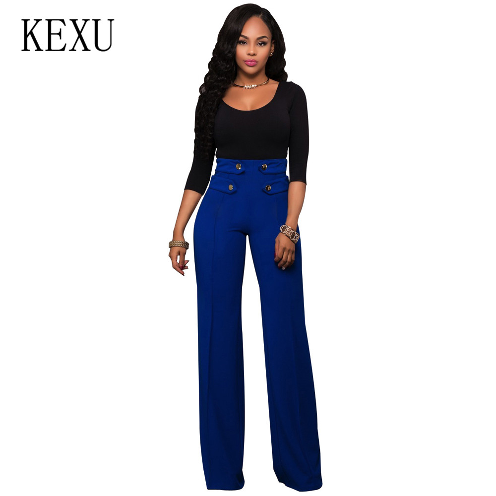 KEXU Women Casual Office Wear Elegant High Waist Pant Femme Fashion Wide Leg Pants Palazzo Pant Button Design Loose Trousers in Pants amp Capris from Women 39 s Clothing