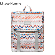 Bohemian style Backpack Women 15.6inch Laptop School Backpack For Girl Travel Orange Waterproof