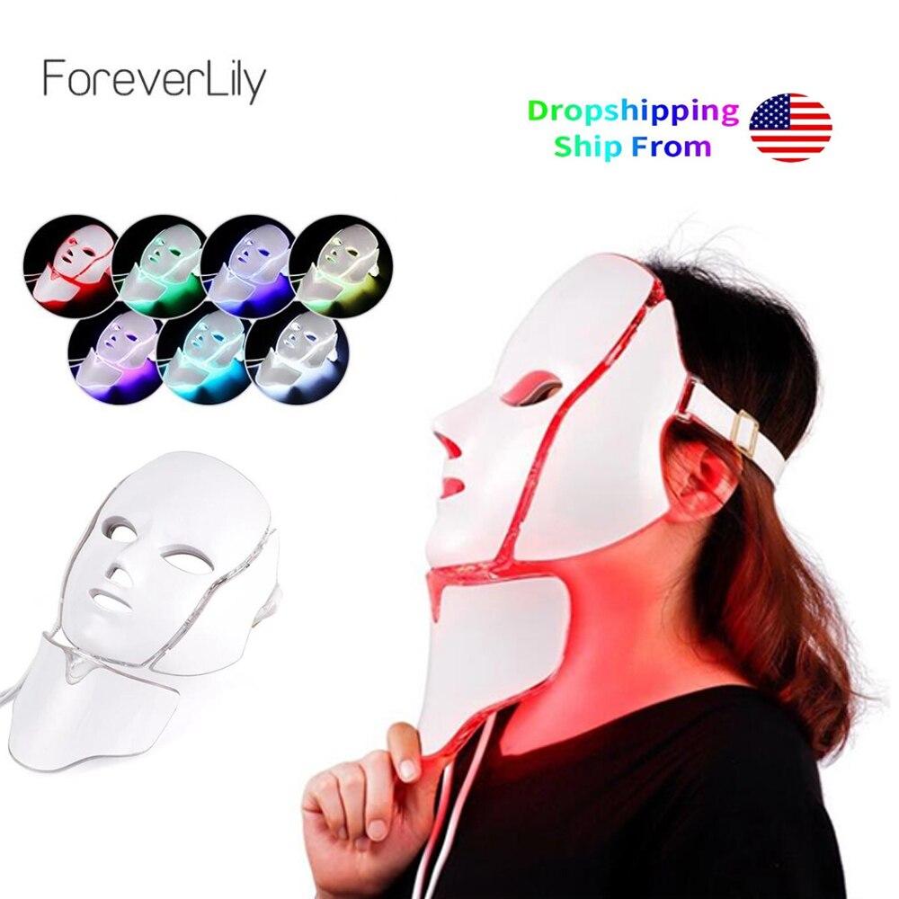 Foreverlily lumière LED masque de thérapie photonique 7 couleurs traitement de la lumière rajeunissement de la peau blanchissant la beauté du visage masque de soin de la peau quotidien