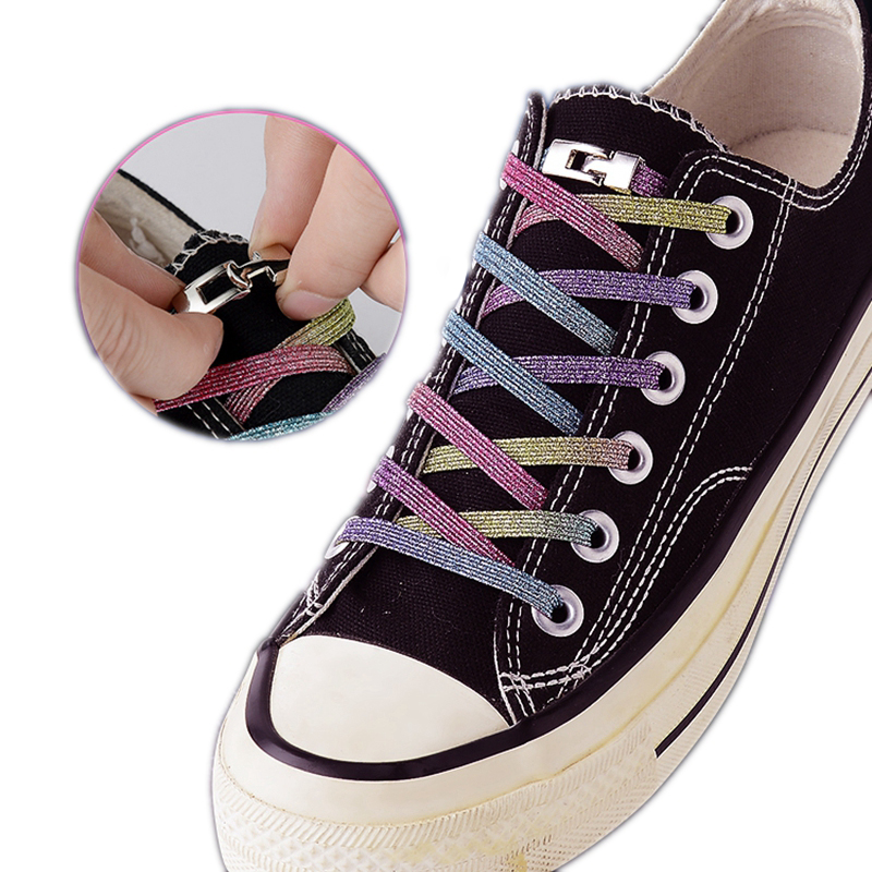 New Elastic Shoe Laces Fashion Metal Cross Lock No Tie Shoelaces Suitable For All Kinds Of Shoes Child Adult Flat Lazy Laces