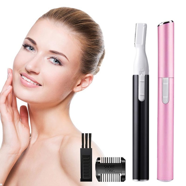 Electric Painless  Eyebrow Epilator Pen Razor Lady Trimmer Shaver Bikini Men Nose Hair Facial Remover  Female