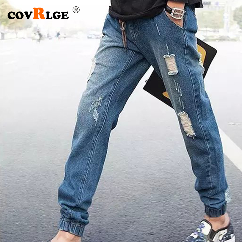 Covrlge Men Stretchy Ripped Skinny Casual Jeans Destroyed Hole Taped Slim Fit Denim Scratched High Quality Streetwear MKX059