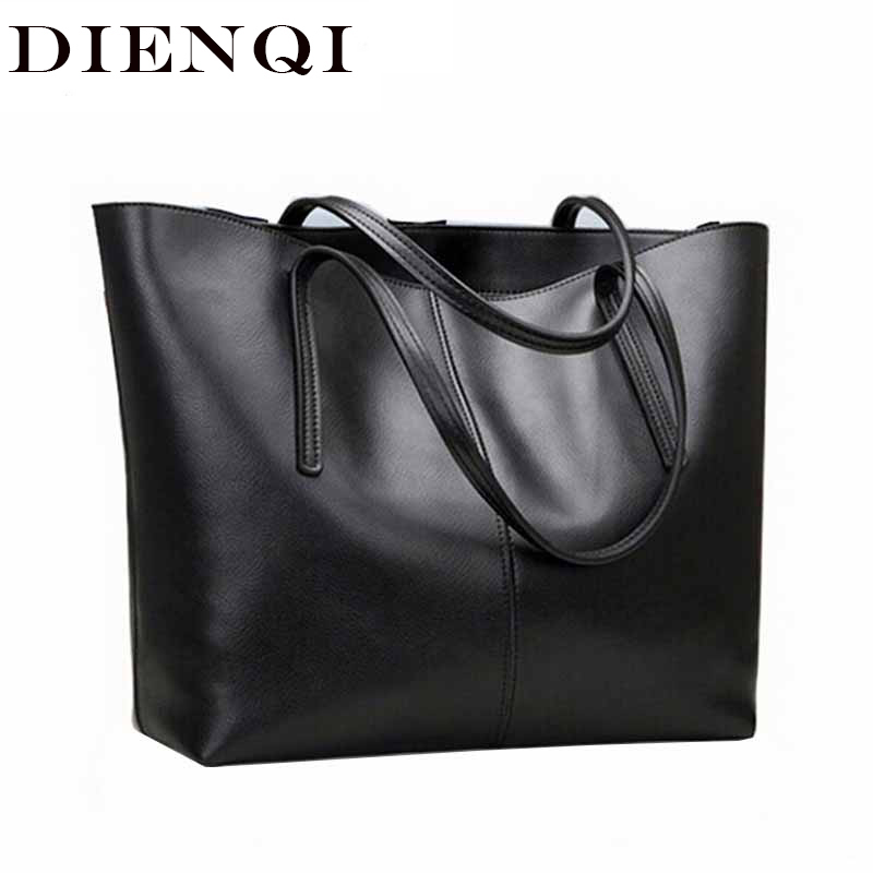 DIENQI High Quality Big Capacity Genuine Leather Shoulder Bags For Women 2018 Luxury Fashion Ladies Handbags Black Sac A Main