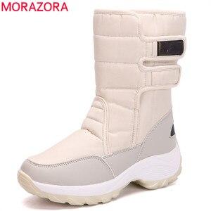 Image 1 - MORAZORA 2020 śniegowe buty wodoodporne antypoślizgowe grube futro ciepłe zimowe buty okrągłe toe płaski obcas buty damskie botki