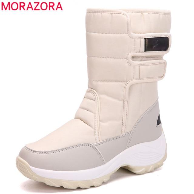 MORAZORA 2020 שלג מגפיים עמיד למים החלקה עבה פרווה חם חורף נעלי בוהן עגול שטוח פלטפורמת מגפי נשים קרסול מגפיים
