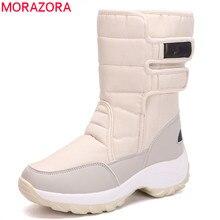 Morazora 2020 botas de neve à prova dnon água antiderrapante grosso pele quente sapatos de inverno dedo do pé redondo botas de plataforma plana botas de tornozelo feminino