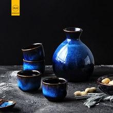 Japonés Estilo Casa bien conjunto azul cerámica Mini florero decoración flor insertar accesorios para el hogar Vasos