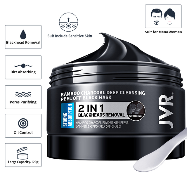 Blackhead Remover Mask Skin Care Bamboo Charcoal Against Black Dots Cleansing Peel Off Face Mask Pore Strip Acne Treatment 120g 5
