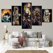 Muurschildering Dragon Ball Z Muur Canvas Schilderij Super Saiyan Goku Vegeta Karakter Anime Poster 5 Stuk Foto Voor Kamer home Decor(China)