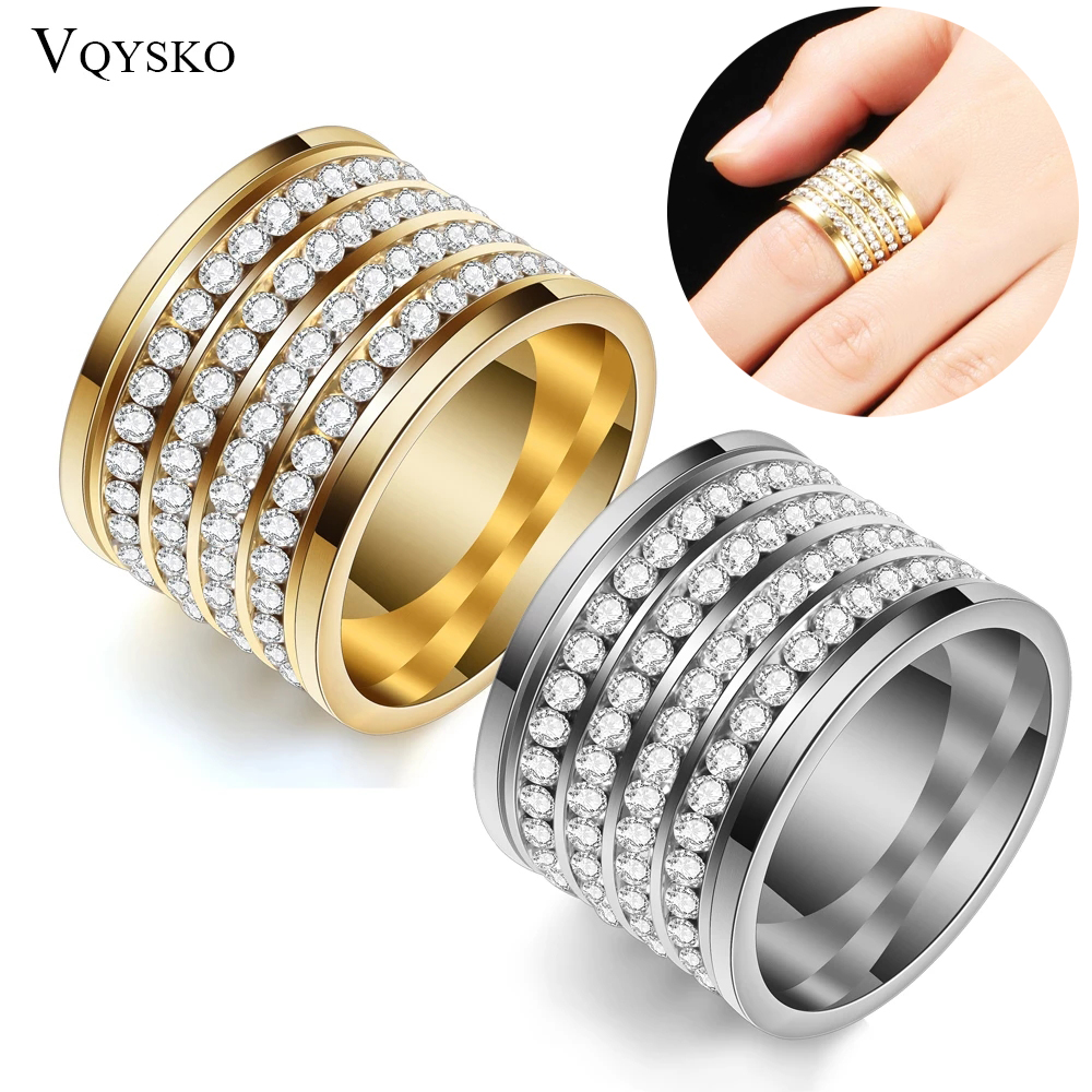 Fashion shining full 4 Row Crystal rhinestone Jewelry Ring Gold Stainless Steel Couple Wedding rings for men and Women 4