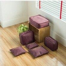 Litthing Nylon 6PCs Waterproof Travel Bag Large Capacity Accessories Luggage Organizer High Mesh Packing Cubes