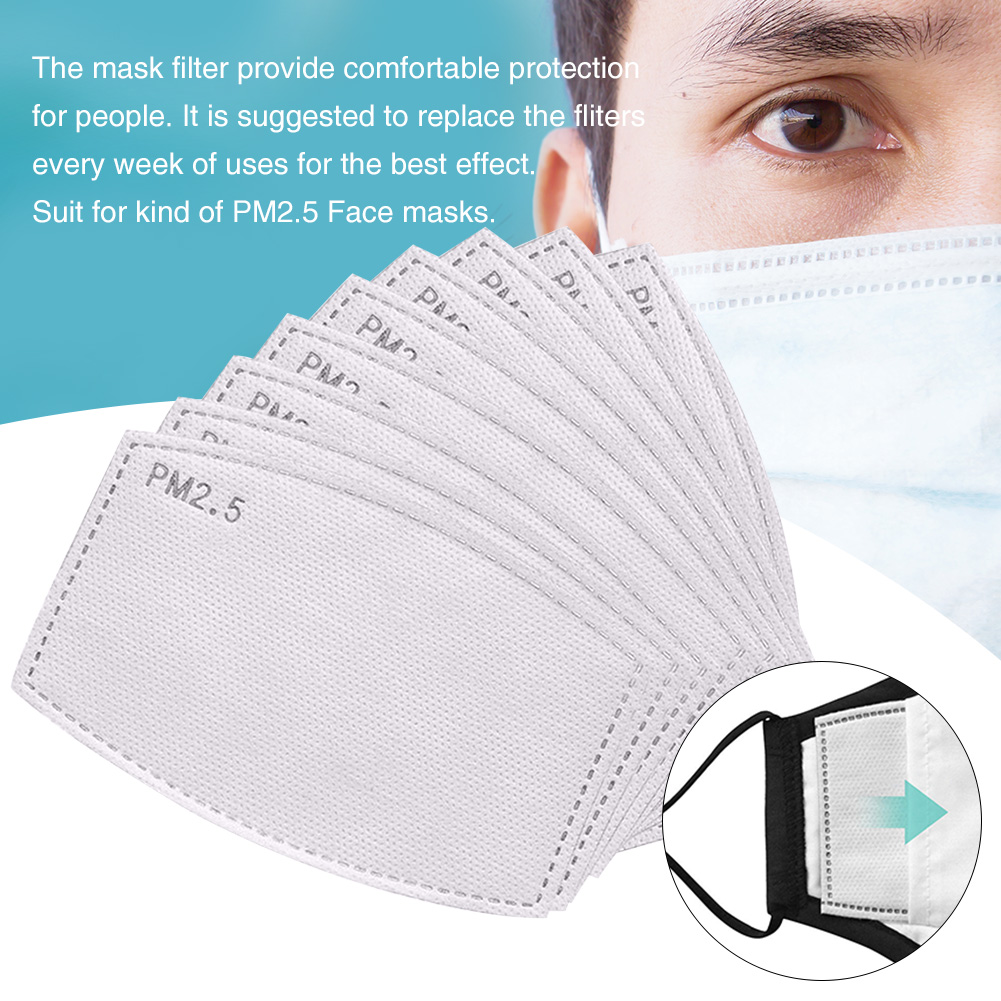 6 Layer PM 2.5 Filter Papers Masks Gasket Activated Carbon Haze Breathable Dustproof Haze-proof Mask Anti-Dust Filter Paper