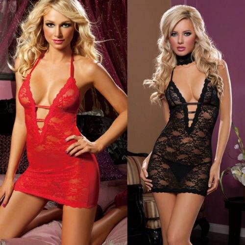 New Elegant Women's Ladies Sexy Lingerie Babydoll Sleepwear Underwear Lace Dress Black Red