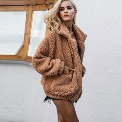 Jesień kurtka zimowa płaszcz damski 2019 moda koreański styl plus rozmiar kobiety teddy futro kobiet na co dzień kurtka kobieta pusheen 3