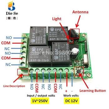 433MHz Universal Wireless Remote Control DC 12V 4CH Relay Receiver Module RF Switch 4 Button Remote Control Gate Garage opener 1