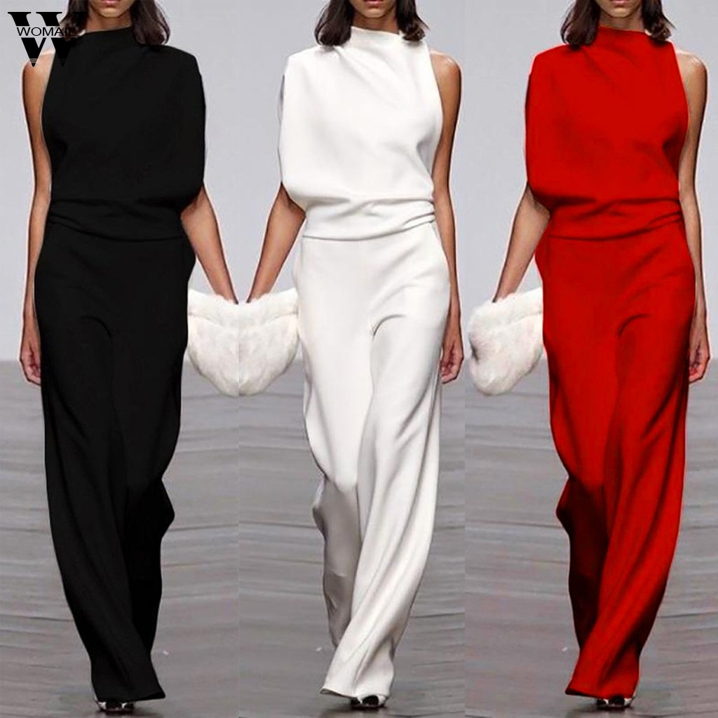 Womail Jumpsuit Women Elegant One Shoulder Long Playsuit Ladies Romper Loose Overalls Fashion Wide Leg Playsuit Workwear 107