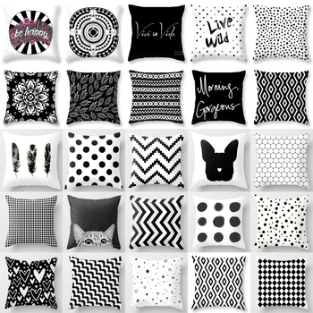 Brand New Simple Black White Geometry Cushion Case Hot Modern Nordic Decorative Pillows Case Livingroom Sofa Couch Throw Pillows