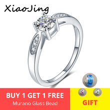 100% Genuine 925 Sterling Silver Romantic Wedding Jewelry Clear White CZ Round Finger Rings for Women  gifts free shipping