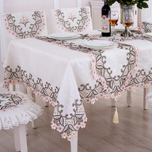 Pink Floral Polyester Rectangle Table Cloth Modern Lace Hollow Waterproof Disposable Cover Wedding Hotel Party