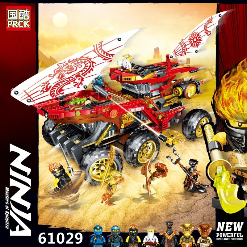 New 858pcs Ninja Land Bounty Truck Model Building Blocks Compatible Legoingly 70677 Ninjagoes Kids Toy Bricks
