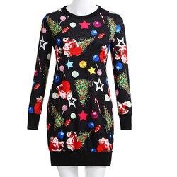 Dress Paty Women Dress Autumn Christmas Printed Long Sleeve Short Mini Female Fahion Clothing 2019 Casual Ladies Vestido Vintage 6