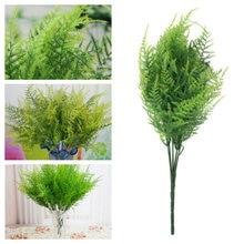 Venda quente plástico artificial plantas verdes 7 hastes artificial aspargos samambaia grama planta flor jardim para casa decoração de casamento