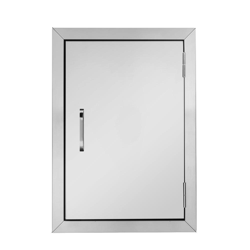 Detachable Single Leaf Stainless Steel Door  304 Cabinet Door 24*17*1.5 Inches Pre-drilled Mounting Study Safty Door Set