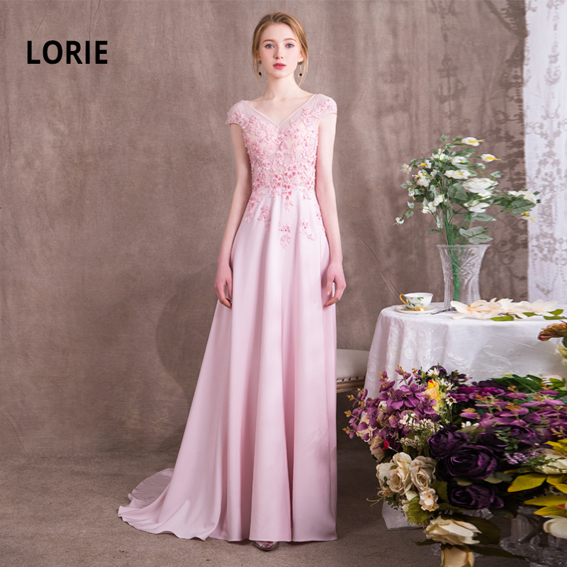 LORIE 100% Real Picture Pink   Evening     Dresses   Long 2019 Lace with Chiffon Backless Lace up Princess   Evening   Gown Party   Dresses