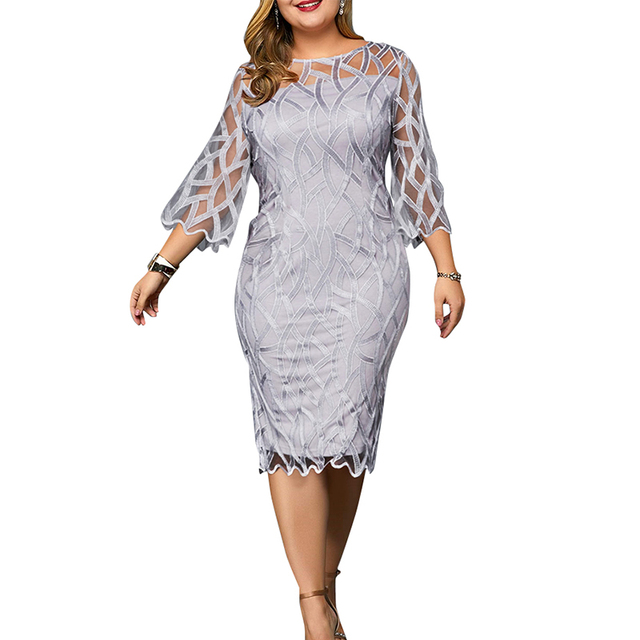 6XL Elegant Women Dress Plus Size Transparent Seven Sleeve Party Dress Autumn Ladies Knee-Length Dress Fall Retro vestidos D30 1