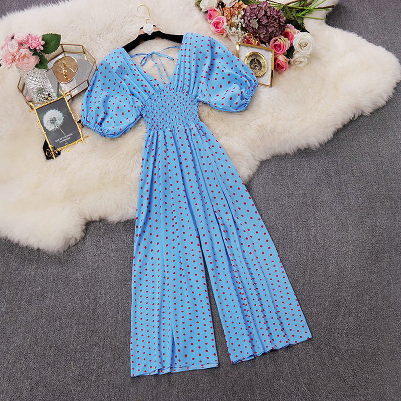 HISUMA summer new women's dot print deep V neck puff sleeve chiffon jumpsuit female V collar Wide leg playsuits women bodysuit